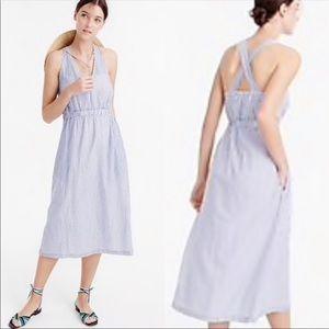 J. Crew Cross-Back Dress In Stripe Blue Size XXS